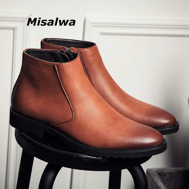 Misalwa Fashion Thin Simple Zipper Men Leather Boots Gray Black Brown Big Size 38-45 British Style Pointed Toe Chelsea Boots