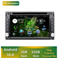 2 din Auto Car multimedia Player Quad Core Android 10.0 Radio Stereo Audio DVD GPS Navigation Wifi AUX RDS Head Unit