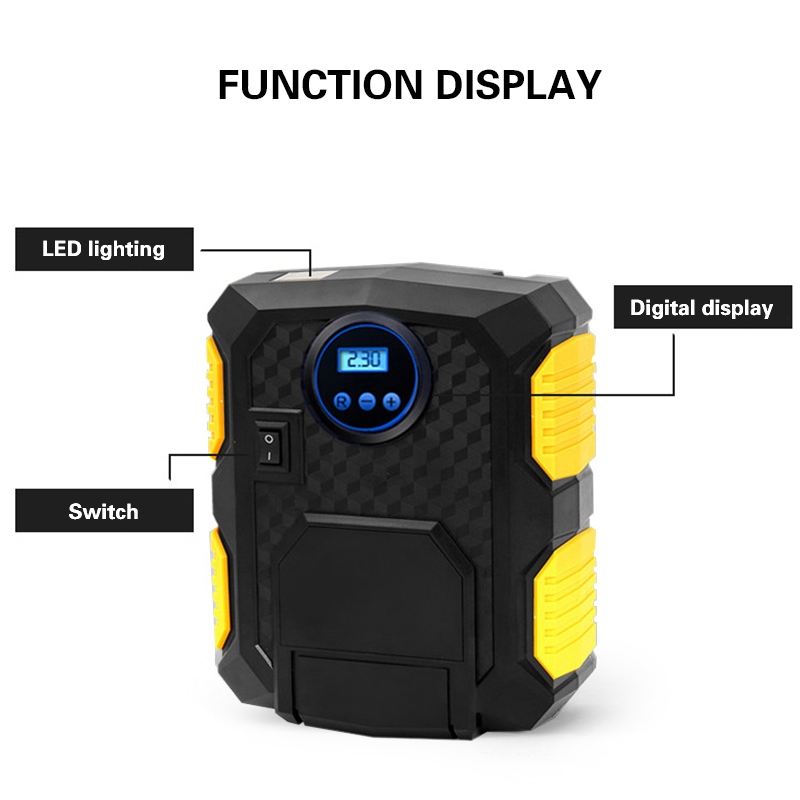 DC12V 120W 150PSI Digital Display Tire Inflator Electric Car Air Compressor Pump LED Light Heavy Duty Motorcycle Inflatable Pump