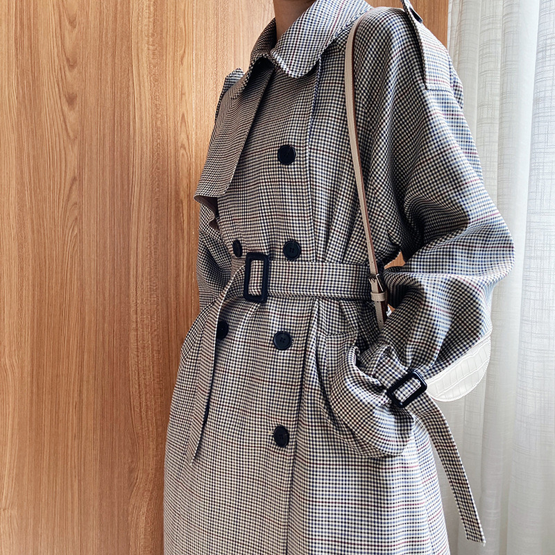 Net red houndstooth plaid windbreaker jacket female spring and autumn Korean style mid length popular double Net red houndstooth plaid windbreaker jacket female spring and autumn Korean style mid-length popular double-breasted coat trend