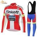 Camisa de ciclismo 2019 pro equipe tinkoff saxo banco bicicleta roupas mtb ciclismo roupas verão manga longa mountain bike bib calças terno