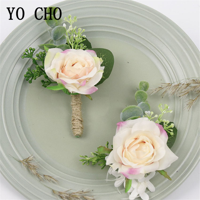 YO CHO Bride Wrist Corsage Men Wedding Boutonniere Quality Silk Rose Flower Girl Bracelet White Pink Boutonniere Wedding Corsage