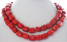 "+++906 natural 35"" 13x15mm massive red coral bead NECKLACE(China)"