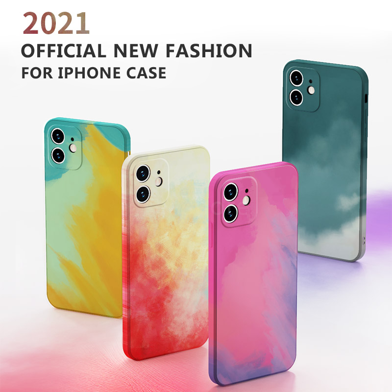 Official Painted Case For iPhone 12 Pro Case For iPhone 11 Case iPhone SE XS XR Max 11Pro Watercolor Gradient Square Soft Cover