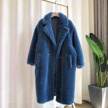 2020 겨울 가짜 모피 테디 코트 여성 하이 스트리트 오버 사이즈 테디 재킷 및 코트 숙녀 아웃웨어 파카 따뜻한 털 복 숭이 코트