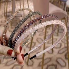 Moda błyszczące luksusowe Rhinestone kryształowa opaska do włosów dla kobiet dziewczyna obręcz do włosów moda akcesoria do włosów nakrycia głowy tanie tanio yanrong CN (pochodzenie) Octan WOMEN Dla dorosłych Hairbands Stałe AGOD