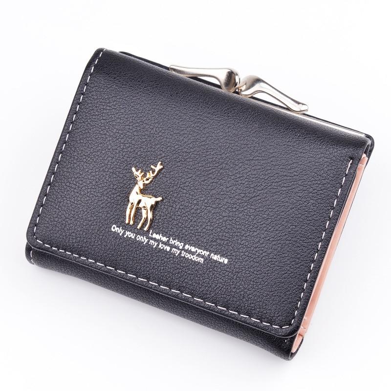Leather Wallet Women Short Cute Deer Wallet Clutch Pu Card Holder Ladies Purses Folding Wallets Retro Coin Purse Portfel W060