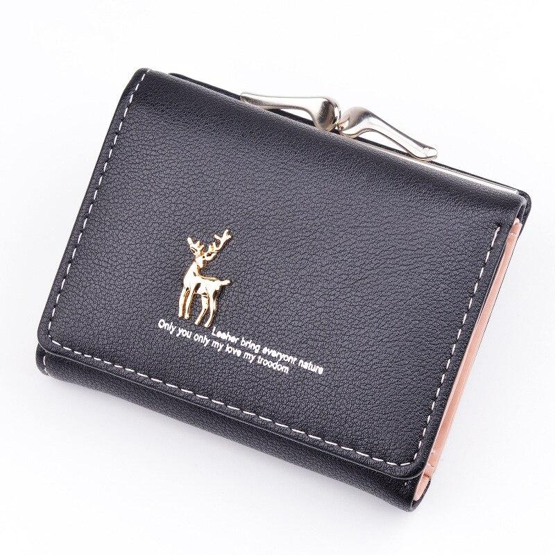 Women Wallet Leather Short Cute Deer Wallet Folding Wallets Clutch Pu Card Holder Ladies Purses Retro Coin Purse Portfel W060