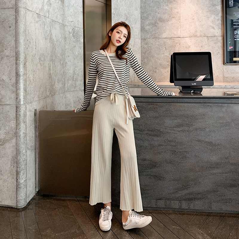 WOMEN'S Suit 2019 Autumn New Style Long Sleeve Stripes Sweater + Casual Wide-Leg Knit Pants Two-Piece Women's F7593