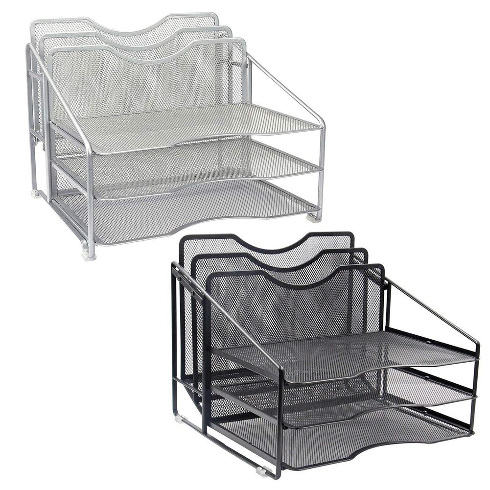 Mesh Desk Organizer File Folder Rack With 3 Paper Trays And 2 Vertical Upright Section Desktop Document Letter Tray For Folders