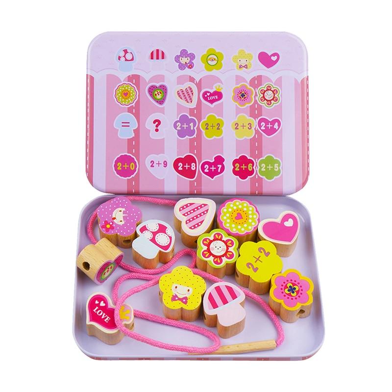 Baby Wooden Beads Toys Set Box DIY Cartoon Beading Toy Kids Stringing Threading Beads Game Montessori Toys Early Education
