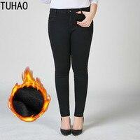 TUHAO plus size 9XL 8XL 7XL Women Winter Jeans Women Trousers Thick Jeans Warm Large size office Jeans Female Pencil Pants LZ36