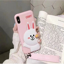 Cartoon Cute Wrist Lanyard Brown Bear Cony Rabbit Phone Case for iPhone 10X XS MAX XR 8 7 6s Plus 6 Silicone Holder Cover