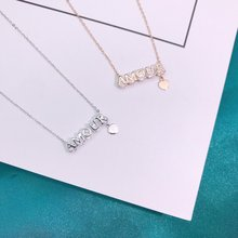 Exquisite Jewelry Real 925 Sterling Silver Charming Pendant Necklaces Lasting Shine AMOUR Cross Chain Good-looking Zirconia exquisite real 925 sterling silver charming bee pendant necklaces lasting shine cross chain and zirconia good looking daisy
