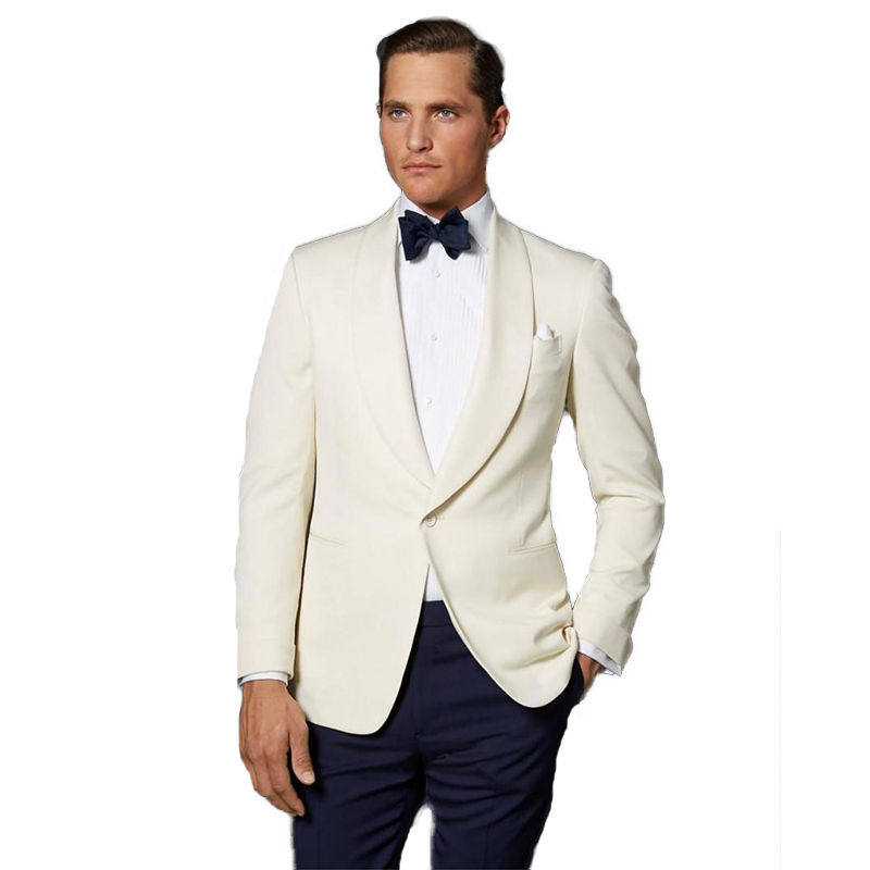 2020 White Lapel Slim Blazer With Black Pants Two Piece Men's Wedding Suit Business Suit Groom Wear Best Man Wear(Jacket+Pants)