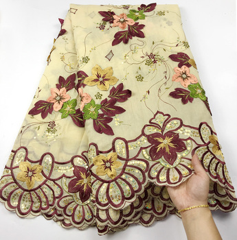 Beautiful Swiss Voile Lace With Handmade beaded High Quality African Cotton Lace Fabric Embroiderey 3D Flower For Garment