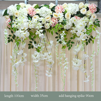 Wedding party stage backdrop stand arch artificial silk fake flowers swag rose decorative flower row arrangement decoration