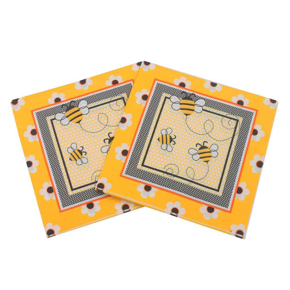 [Currently Available] Color Printed Napkin Bees Cartoon Creative Tissue Napkin