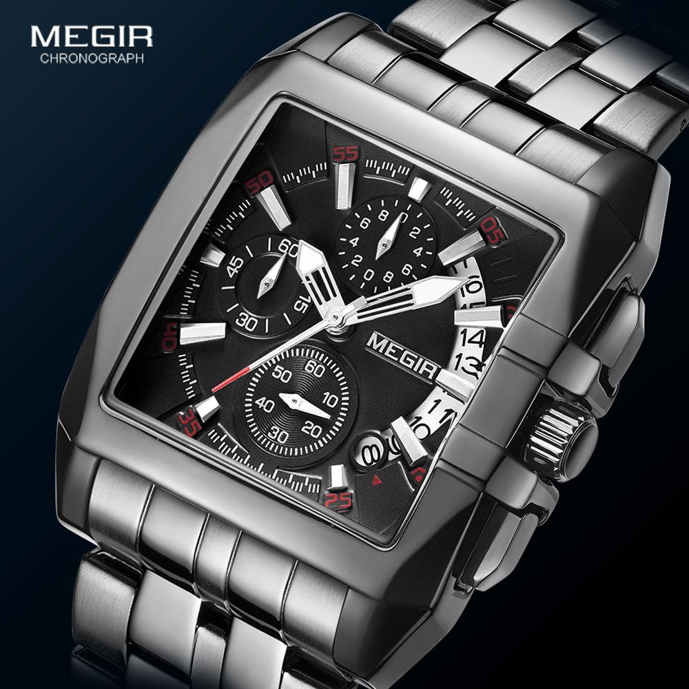MEGIR Full Black Watches Men Luxury Chronograph Quartz Watch for Man Square Dial Luminous Wristwatch Relogios Часы мужские Reloj 1