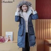 Autumn Winter Denim Jacket for Women New 2019 Coat lambswool jean Coat Hooded Long Sleeves Warm Jeans Jacket Female Warm Outwear