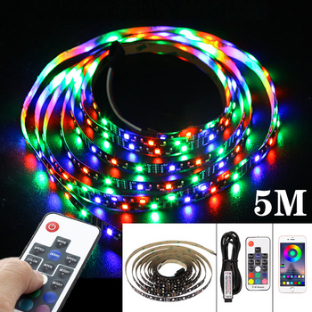 LED Strip Light USB Bluetooth App Remote Control RGB Lamp Tape Ribbon 3/17Key Flexible Lights Desk Screen TV Background Lighting image