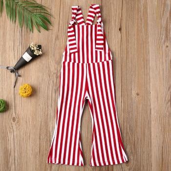 Summer Infants Girl Romper Baby Overall Flat Neck Sleeveless Backless Striped Wide-Leg Jumpsuit