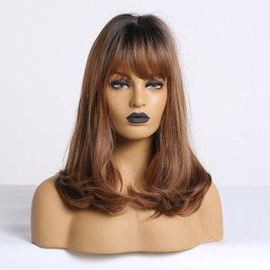 Image 5 - ALAN EATON Bobo peruk patlama ile kısa dalgalı sentetik Ombre siyah kahverengi peruk kadınlar orta isıya dayanıklı Cosplay Lolita sevimli peruk