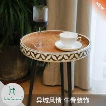 Луи модные кофейные столы коровья кость инкрустированный уголок Несколько простой чай гостиная балкон скандинавские маленькие круглые