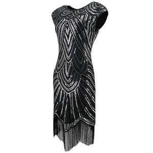Image 3 - 女性 1920s ダイヤモンドスパンコール修飾語フリンジグレートギャツビーフラッパードレスキャップスリーブレトロミディパーティードレスウクライナ vestido