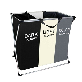Laundry basket Hamper Foldable with 3 Section Large Dirty Clothes Sorter delicates laundry bag - discount item  40% OFF Home Storage & Organization