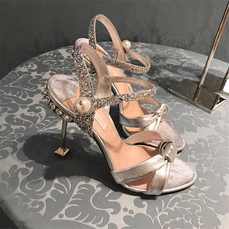 Women Sandals 8cm High Heels Crystal Summer Shoes Black 2019 New Fashion Stiletto Sexy Party Cat Heel Pearl Shoes Bow Tie Pumps - 2