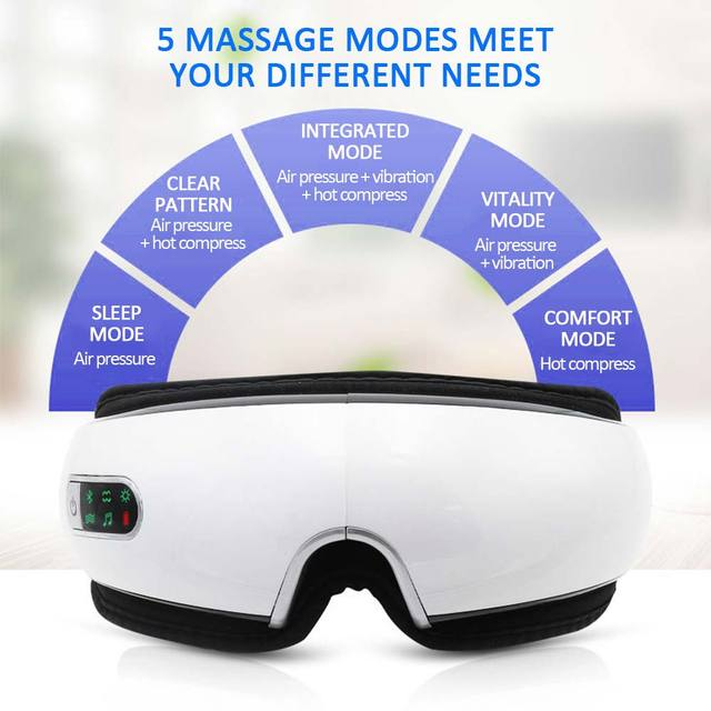 Bluetooth Eye Massager Air Pressures Eye Care Device Wrinkle Fatigue Relieve Eye Vibration Massage Hot Compress Therapy Glasses 1