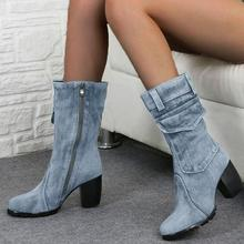 WENYUJH 2019 New Fashion Autumn Winter Denim Blue Boots Women Round Toe Cowboy Style High Heels Shoes Knee Footwear