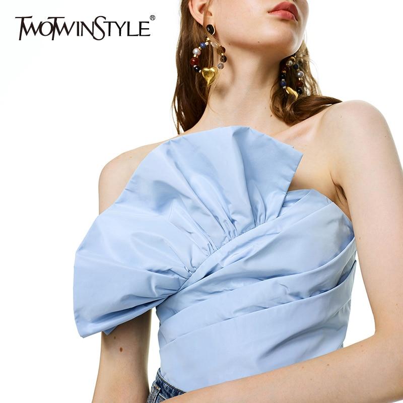 TWOTWINSTYLE Elegant Patchwork Irregular Women Shirt Slash Neck Sleeveless Tunic Ruched Ruffle Short Blouse Female Fashion Tide