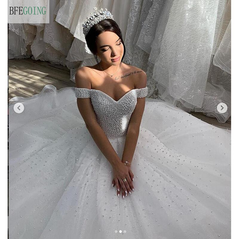 White Tulle Beading Sweetheart Off The Shoulder Floor-Length Ball Gown Wedding Dress Cathedral /Royal Train  Custom Made