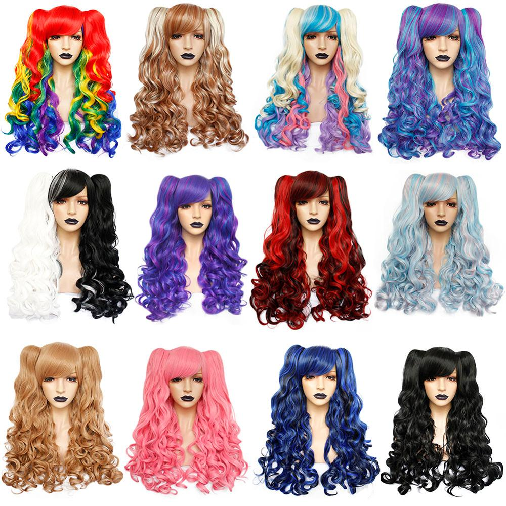 ANOGOL High Temperature Fiber Lolita Long Body Wave Black Blonde Brown Cosplay Wig Side Fringe  Synthetic Wig With 2 Ponytails