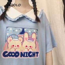 NYOOLO – T-shirt à manches courtes pour femme, col à volants, imprimé lapin, dessin animé, style japonais, patchwork, été