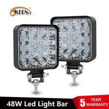OKEEN listwa świetlna led 48W barra led 16led 12V 24V światła samochodowe led dla 4x4 listwa led offroad SUV ciągniki ciężarowe światło przeciwmgielne światło robocze