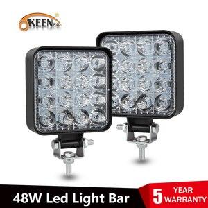 OKEEN led light bar 48W barra led 16LED 12V 24V led Car Light For 4x4 led bar offroad SUV Tractor Trucks Fog Light Work Light