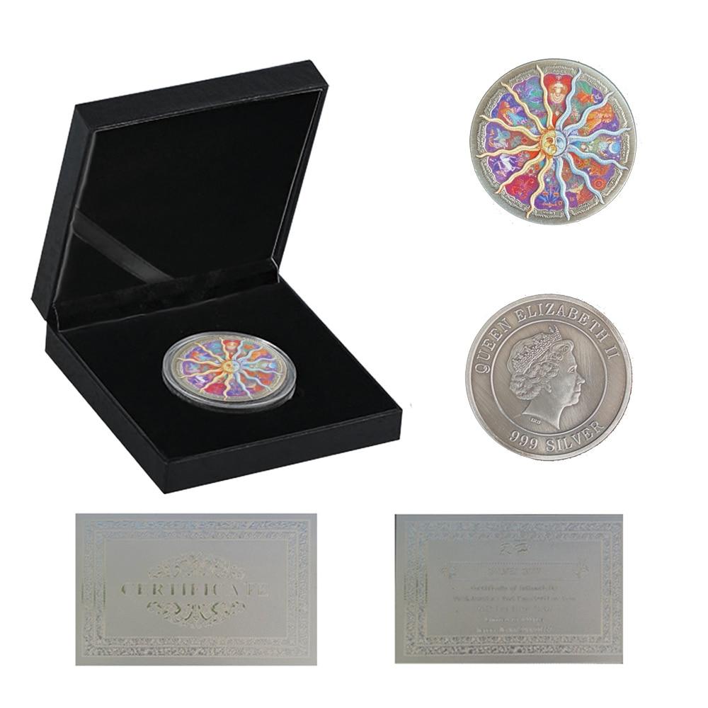Елизаветы II двенадцать созвездий 999 серебряные коллекционные монеты подарки невалютных W/роскошная коробка