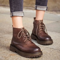 Retro Women's Booties 2019 Autumn New Casual Wild Leather Handmade Women's Boots Leather Women Plus Velvet Cotton Shoes