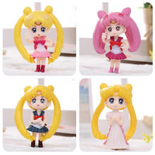 4pcs/set Anime Sailor Moon Model Toys 4 Styles Action figures Kids Birthday Gifts hare water ice month