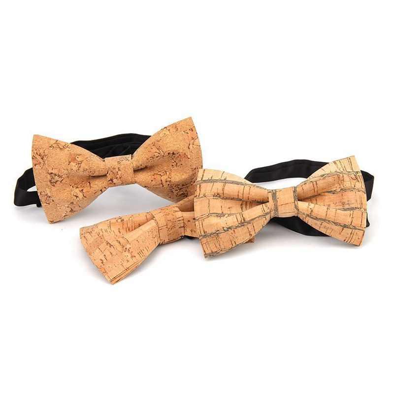 Mới Lạ Corkwood Dây Thắt Nơ Dành Cho Nam Cưới Hôn Nhân Handmade Nút Chai Gỗ Phối Nơ Góc Nhọn Trưởng Thành Vát Cravat 001