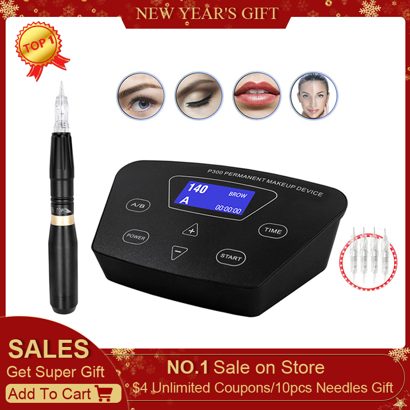 BIOMASER  HP100P300  Permanent Makeup Rotary Machine Eyebrow Tattoo Kits Professional Pen For Eyebrow Eyeliner Lip Tattoo Set