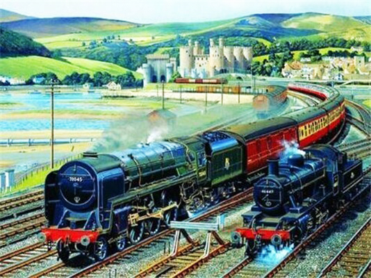 Paint By Numbers Kit Age Of Steam Locomotives Gateway To Snowdon Conwy Castle