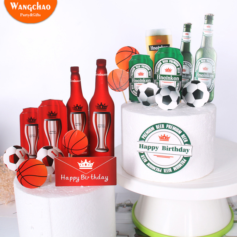 Summer Beer Party Cake Topper Happy Birthday Cake Decoration Football Basketball Cake Decorated for Beer Festival Oktoberfest image