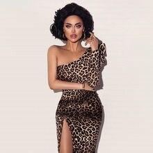 Sexy puff manga longa um ombro leopardo impressão midi vestido para a senhora festa alta divisão magro lápis vestido vestidos longos de verao