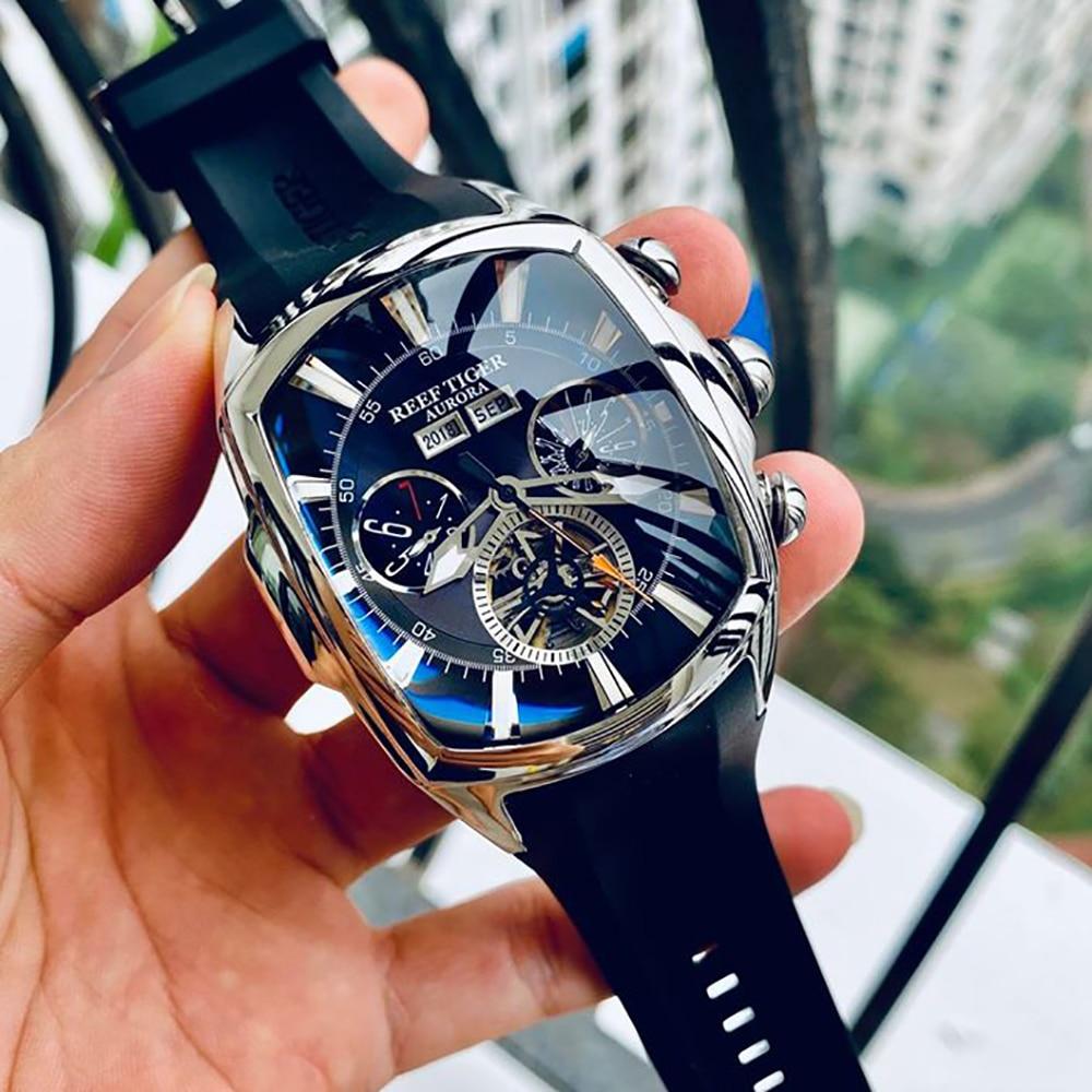 Reef Tiger/RT Big Sport Watch Men Luminous Analog Tourbillon Watches Top Brand Blue Rose Gold Watch  relogio masculino RGA3069 4