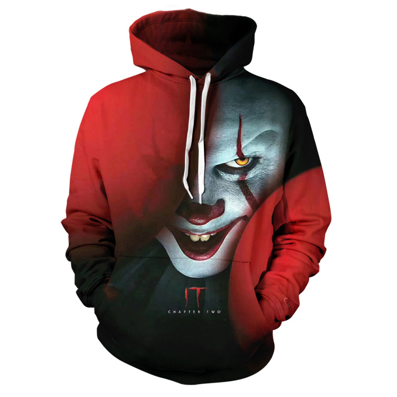 2019 Amerian Horror Movie IT Chapter Two 3D Hoodies Men Women Casual Sweatshirts Clown Print Pattern Tops Cool Coats Clothes