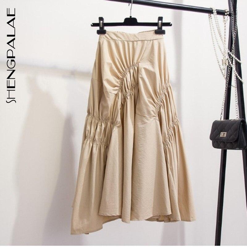 SHENGPALAE 2020 New Fashion Autumn Irregular Pleated Skirt Women Solid Vintage Loose Casual Korean Faldas Mujer Moda Tide FV317